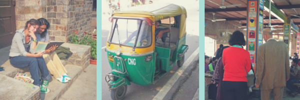 Then and Now: Manager of Authorizer Development Erin Reddy as an international student in New Delhi, 2006; One of the many auto rickshaws that transport college students to class each morning in Delhi; Katha Lab School, a government partnership school the Authorizer Development team visited in January.